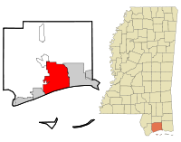 Harrison County Mississippi Incorporated and Unincorporated areas Gulfport Highlighted.svg