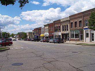 Harvard, Illinois - Looking southwest on Ayer Street. Downtown Harvard, Illinois