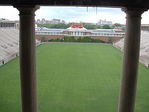 Boston Breakers - Two pillars at the southern part of the colonnade at Harvard Stadium