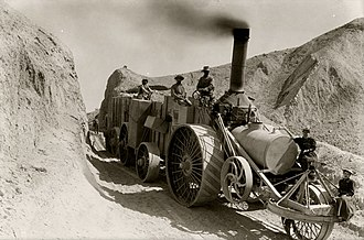 Borax - Traction steam engine hauling borax, Death Valley National Park, California, 1904