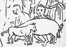 Hawaiian natives wearing kihei, with animals, sketch by Louis Choris (crop, central dog).jpg