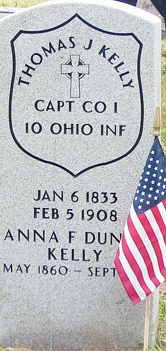 10th Ohio Infantry - Image: Headstone TJ Kelly 3May 1908