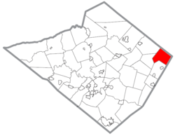 Location of Hereford Township within Berks County.