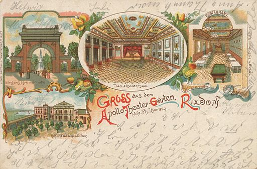 Hermannstraße (Rixdorf) Apollo-Theater-Garten anno 1900 AK gemeinfrei