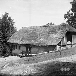 """Hiša, lesena, """"oblečena"""" (obdana s kamnitim zidom), Avguštine 1956.jpg"""