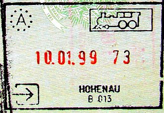 Hohenau an der March - Passport stamp from the Austrian-Czech railway border before Czech Republic joined the European Union.