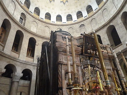 "A rotunda in Church of the Holy Sepulchre, called the Anastasis (""Resurrection""), which contains the remains of a rock-cut room that Helena and Macarius identified as the burial site of Jesus."
