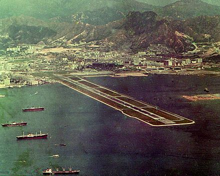 Hong Kong's old airport, Kai Tak, was located in Victoria Harbour. Hong Kong Kai Tak Airport 1971.jpg