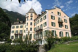 Bondo, Switzerland - The Hotel Bregaglia on the mountainside