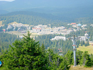 Suvo Rudište - Hotels in the Kopaonik tourist centre, view from the slopes of Suvo Rudište.