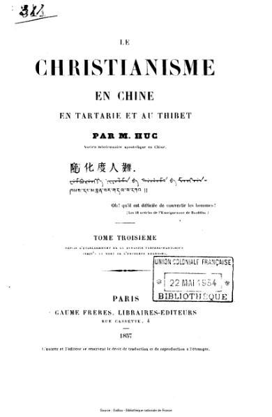 File:Huc - Le christianisme en Chine, en Tartarie et au Thibet, tome 3.djvu
