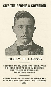 "Card sporting Long's face surrounded by the text ""Give the people a governor, Huey P. Long"""