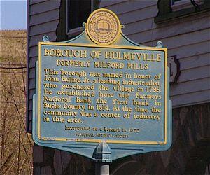 Hulmeville, Pennsylvania - Historical marker in Hulmeville