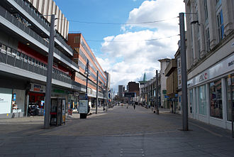 Leicester City Centre - The pedestrianised section of Humberstone Gate. The Haymarket Shopping Centre is to the left.