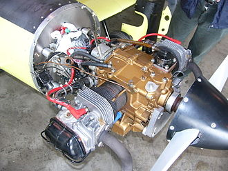 Volkswagen air-cooled engine - Half Volkswagen engine mounted in a Hummel Bird.