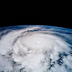 Hurricane Emilia (1994) - Oblique view from orbit