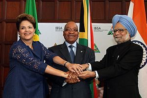 IBSA Dialogue Forum - Pretoria (South Africa) - Dilma Rousseff, President of Brazil, Jacob Zuma, President of South Africa and Manmohan Singh, Prime Minister of India pose for photo.