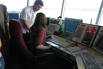 École nationale de l'aviation civile - Students and air traffic controllers in the Nantes Atlantique Airport control tower