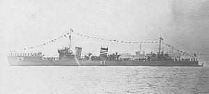 Japanese destroyer Oite (1924) - Image: IJN DD Oite in 1927 off Yokohama