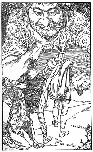 Þjálfi and Röskva - Þjálfi and Röskva turn away in fear as Thor and Loki face the immense jötunn Skrymir in an illustration (1902) by Elmer Boyd Smith.