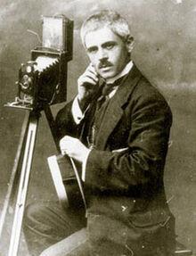 Portrait of Yanaki Manaki with his camera
