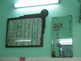 Cha chaan teng - Two menus, one on the board and another on glass, in a bing sut in Sheung Shui, Hong Kong. No rice plates can be seen on the menus.