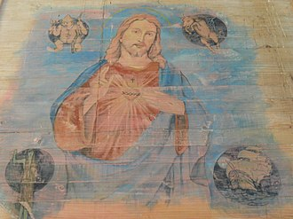 Chilote mythology - Icon in the church of Dalcahue: Christ being surrounded by mythological creatures of Chiloé