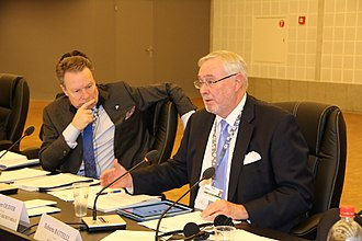 Parliamentary Assembly of the Organization for Security and Co-operation in Europe - OSCE President Ilkka Kanerva (left) with Secretary General Spencer Oliver (right)