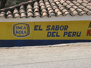 "Inca Kola - Inca Kola slogan: ""The taste of Peru"""