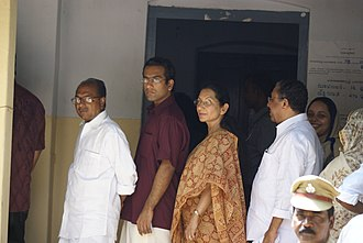 A. K. Antony - AK Antony with his family outside a polling station in Thiruvananthapuram, Kerala in 2009.
