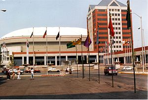 Downtown Indianapolis - The Hoosier Dome and newly-dedicated Pan American Plaza in 1988.