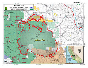 Indians Fire - Area Burn Map