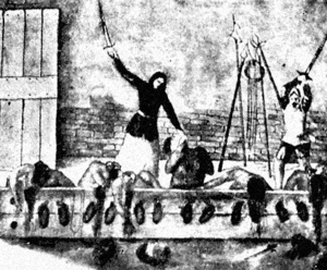 Inés Suárez - Inés de Suárez beheading the hostages
