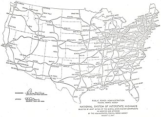 Interstate 64 in Virginia - Image: Interstate Highway plan August 2, 1947 big text