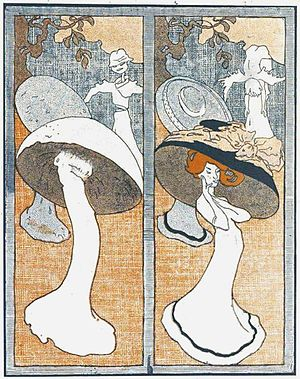 Mushroom hat - A 1908 cartoon by Ion Theodorescu-Sion satirising the popularity of mushroom hats