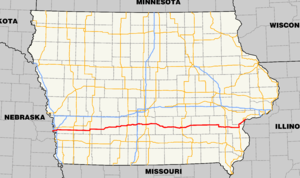 Iowa Highway 92 - Image: Iowa 92 map
