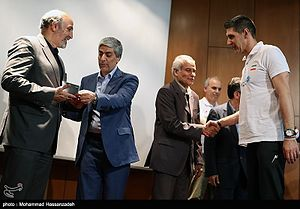 Mahmoud Goudarzi - At Iran National Volleyball Team ceremony with Kovac