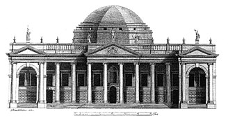 Parliament House, Dublin - Architectural drawing of the front of Parliament House (by Peter Mazell based on the drawing by Rowland Omer, 1767)