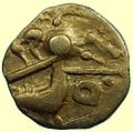 Iron Age Coin, Quarter Stater Gallic import (obverse) (FindID 658468).jpg