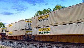 J. B. Hunt - J.B. Hunt intermodal containers on well cars