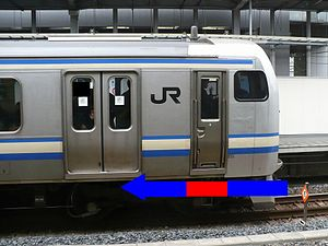 Crumple zone - Range shown in blue of East Japan Railways (JR East) E217 series train. The driver's cabin is a crushable / crumple zone).