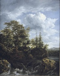 Jacob van Ruisdael: A wooded river landscape with a waterfall and travellers on a bridge