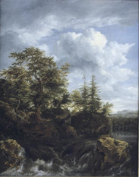 File:Jacob van Ruisdael - A wooded river landscape with a waterfall and travellers on a bridge d3866755x.jpg