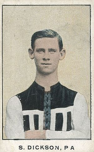 Australian rules football card - James S. Dickson (Australian footballer) from the 1906 Dungey Ralph Sweet Nell cigarette company football card set.