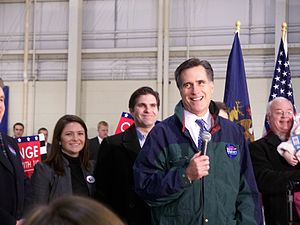 Mitt Romney presidential campaign, 2008 - Romney at a rally on January 12, 2008