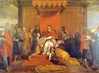 The Japanese ambassadors of Tennsho, Keisho, headed by Ito Mancio meet with Pope Gregory XIII in 1585. JapaneseDelegatesAndPopeGregory13.JPG