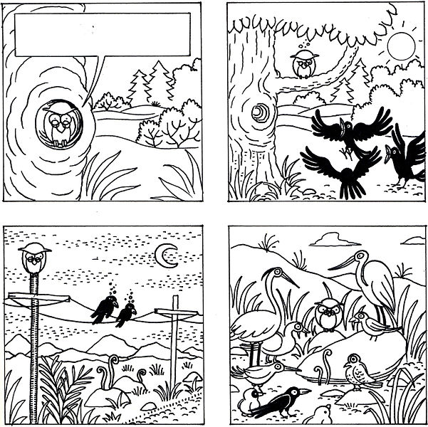 File:Jataka, La chouette et le corbeau en NB - 1.jpg