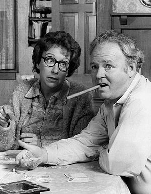 "Jean Stapleton - Stapleton (left) beside Carroll O'Connor on the set of ""All in the Family"""