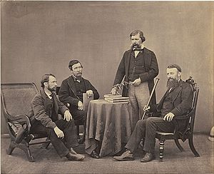 Hugh Cleghorn (forester) - Cleghorn (extreme right) with Jerdon (second from left) in 1864