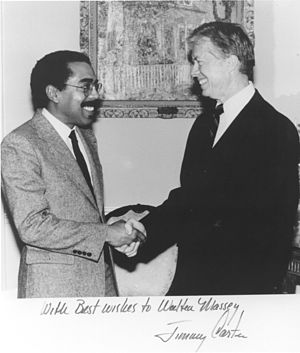 Walter E. Massey - Massey (left) meets with President Jimmy Carter while at Argonne.